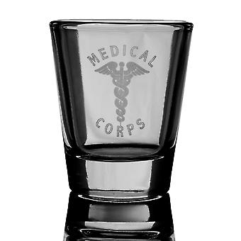 2oz united states army medical corps shot glass