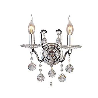 Diyas Zinta Wall Lamp Switched 2 Light Switched Polished Chrome/Crystal