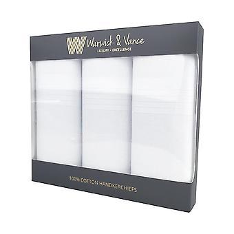 3 Pack Herre/gentlemens lommetørklæder hvid bomuld satin stribe grænse gave boxed