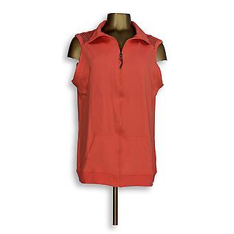 cee bee CHERYL BURKE Women's Vest Zip Front w/ Mesh Pink A278045