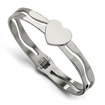 Stainless Steel Polished Engravable Heart Hinged Bracelet