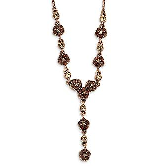 Fancy Lobster Closure Copper-tone Lt. Colorado and Brown Crystal 15inch With Ext Y Necklace