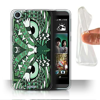 STUFF4 Gel/TPU Case/Cover for HTC Desire 820s Dual/Owl-Green/Aztec Animal