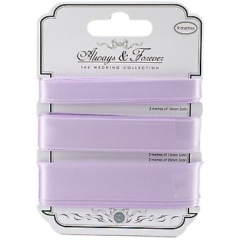 Craft Consortium Always & Forever Satin Ribbon 3yd 3/Pkg-Lilac AFSRBN05