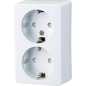 GAOSocket2-way SM earthing contact socket-outlet, white White