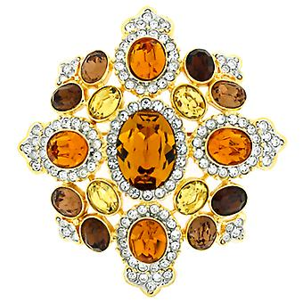 Kenneth Jay Lane Large Topaz Crystal Shield Brooch Pendant