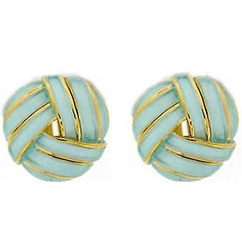 Turquoise Enamel & Gold Stripe Round Knot Stud Earrings