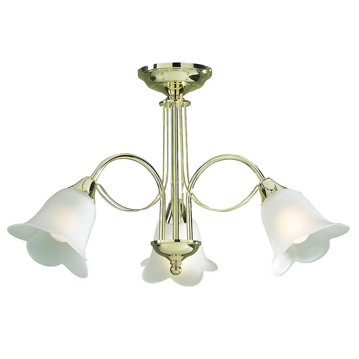 Dar DOU0340 Doublet Traditional Semi-Flush Ceiling 3 Light With Opaque Glass