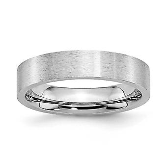 Cobalt krom flad Band Engravable Satin 5mm Band Ring - ringstørrelse: 7-13