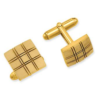 Gold-plated Square Double Lines Cuff Links