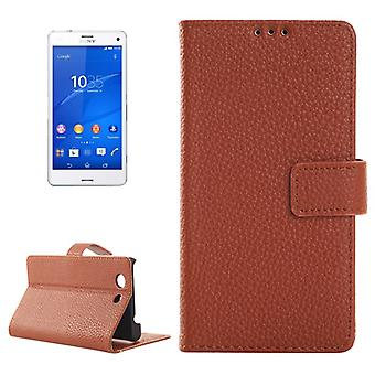Protective case pouch (flip cross) for mobile phone Sony Xperia Z3 compact Brown