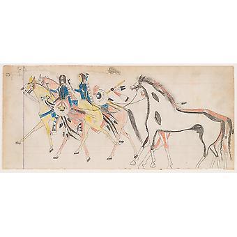 To ryttere førende heste (Henderson finans kunstner B) plakat Print af Frank Henderson (Native American Hinonoeiteen (Arapaho) 1862