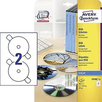 DVD labels Avery-Zweckform C9780-15 C9780-15 Inkjet Label diameter 117 mm 30 pc(s) White