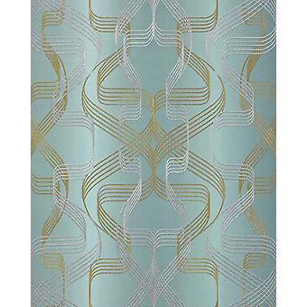 Graphic wallpaper EDEM 507-25 foam vinyl wallpaper textured with abstract pattern and metallic accents petrol perl-gold silver 5.33 m2