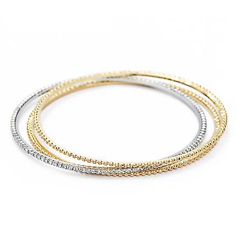 14K Rose, Yellow And White Gold Plated Bangles Set, 16cm