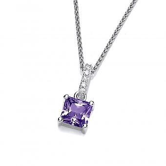 Cavendish French Delicate Square Amethyst CZ Solitaire Pendant