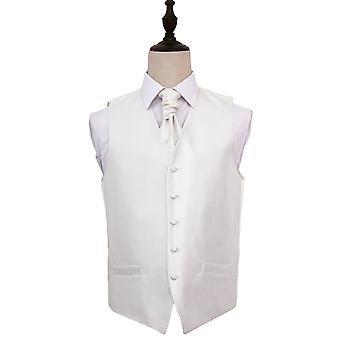 Greek Key Ivory Wedding Waistcoat & Cravat Set