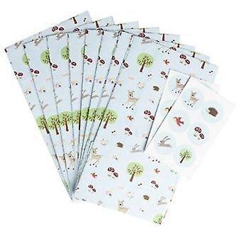 Paper Party bags - Woodland Design - pack of 8 with fastening stickers