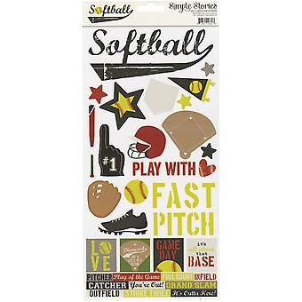 Simple Sets Softball Cardstock Stickers 6