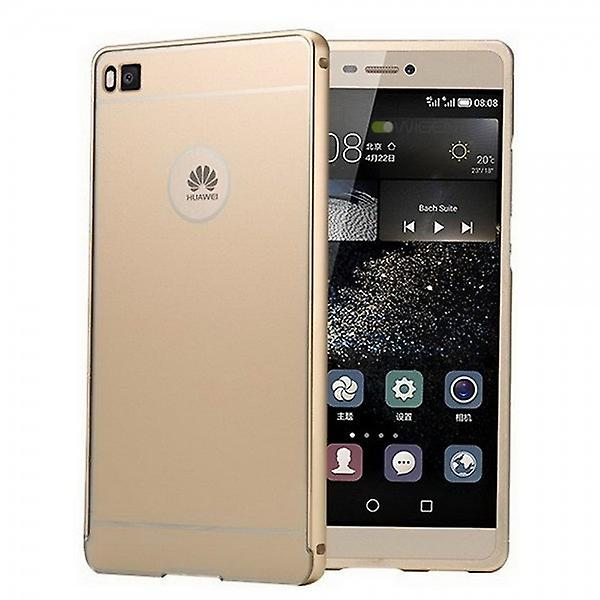 Aluminium bumper 2-piece gold + 0.3 mm H9 bulletproof glass for Huawei Ascend P8