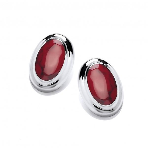 Cavendish French Big and Bold Red Jasper Button Earrings