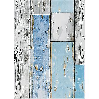 Wood Effect Fablon Sticky Back Plastic Wooden Plank Scrap wood Blue White