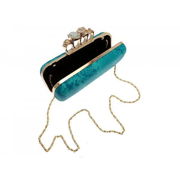 W.A.T Turquoise Blue Faux Snakeskin Long Skull Knuckle Duster Handbag