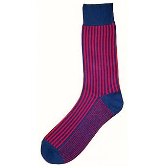 Bassin and Brown Vertical Stripe Midcalf Socks - Mid Blue/Deep Pink