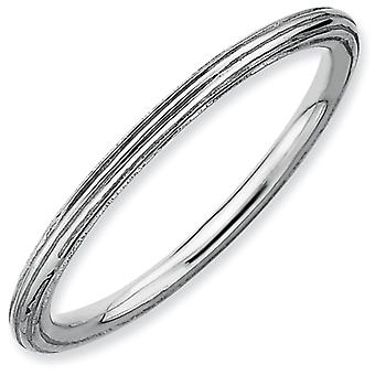 Sterling Silver Polished Patterned Rhodium-plated Stackable Expressions Rhodium Step-down Ring - Ring Size: 5 to 10