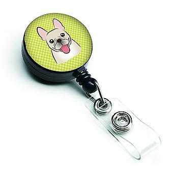 Scacchiera calce verde francese Bulldog retrattile Badge Reel