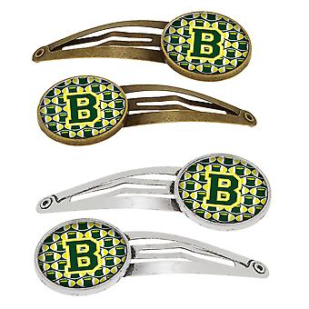 Letter B Football Green and Yellow Set of 4 Barrettes Hair Clips