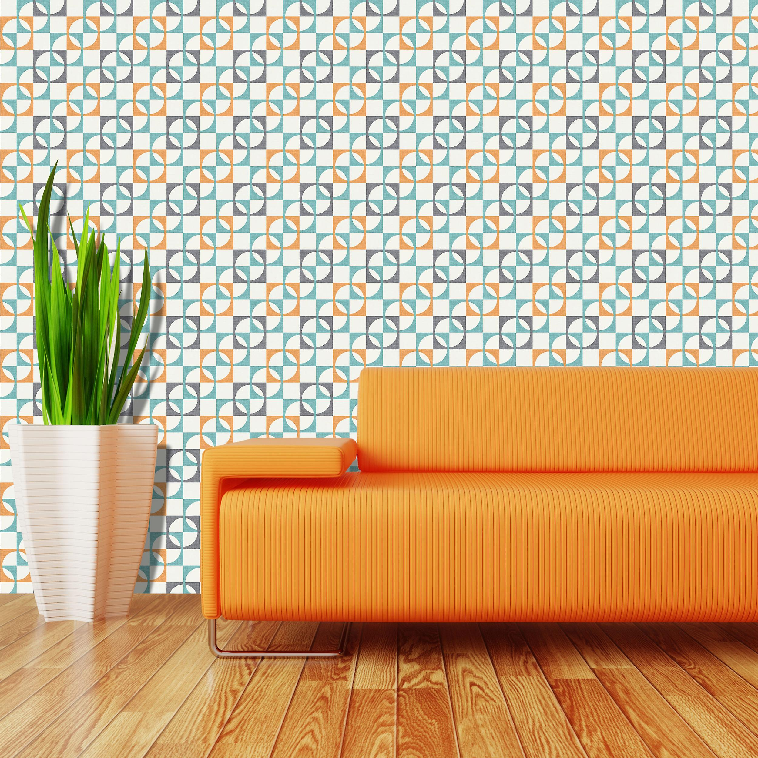 Retro Wallpaper Geometric Squares Tiles Orange Charcoal Teal White Rasch