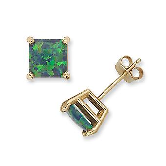 14k Yellow Gold Green 6x6mm Square Simulated Opal Earrings