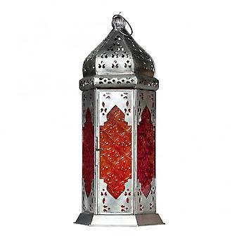 Boutique Camping Moroccan Long Glass Lantern Orange/Red
