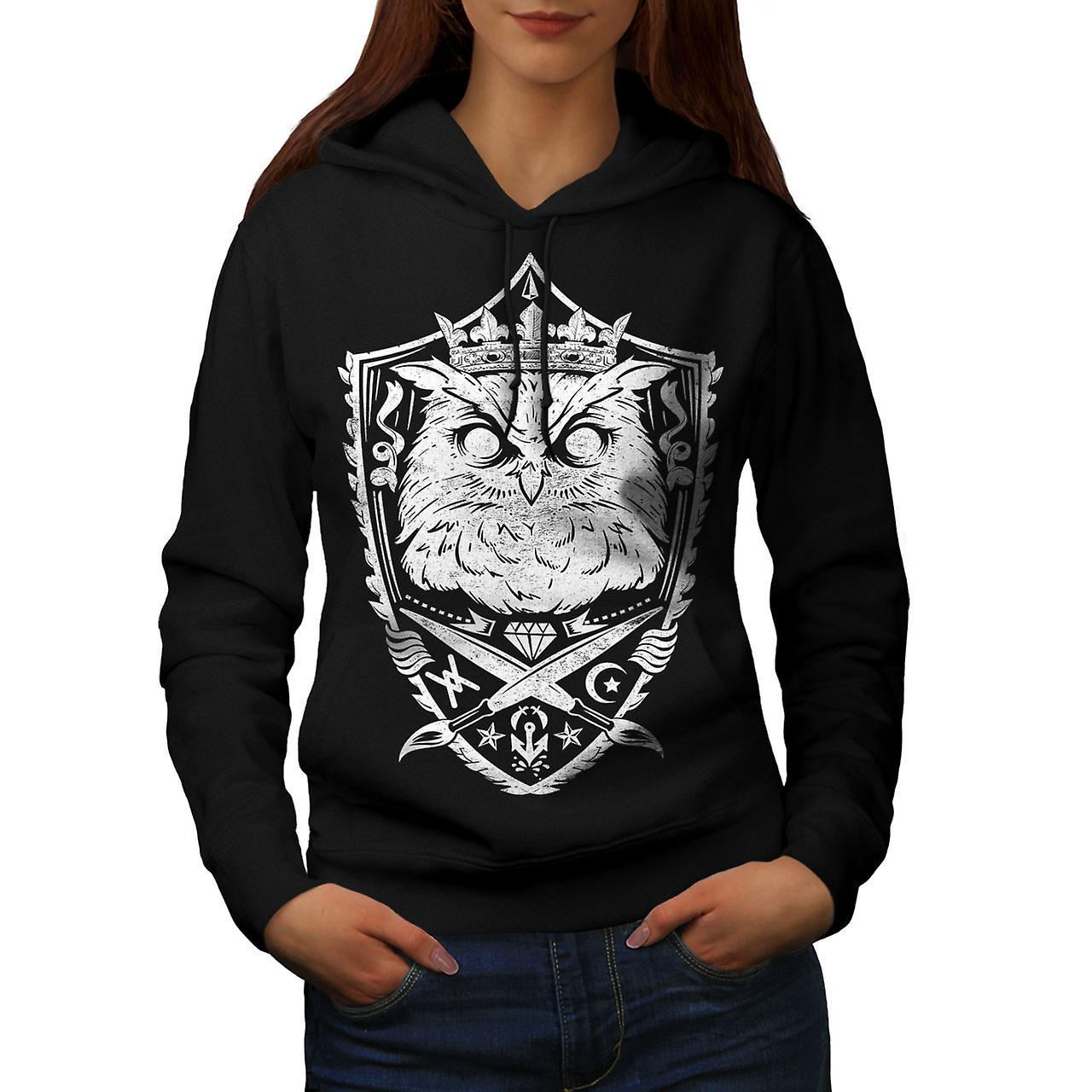 Owl King Knight Animal Women Black Hoodie | Wellcoda