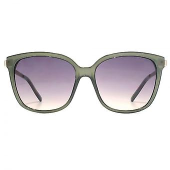 French Connection Metal Temple Square Sunglasses In Milky Green