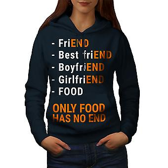Food Has No End Women NavyHoodie | Wellcoda