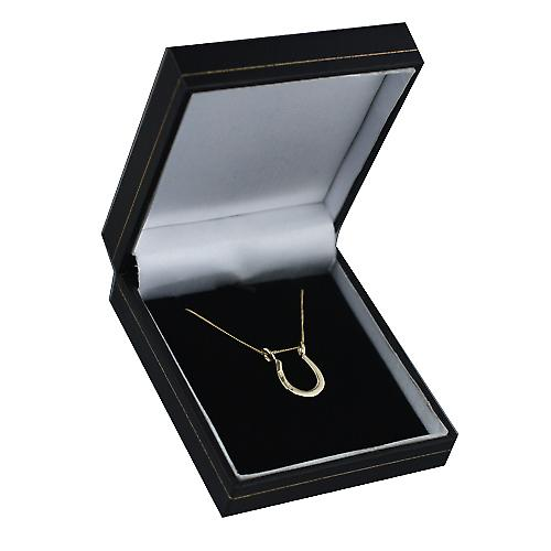 9ct Gold 15x14mm Horseshoe Pendant with a curb Chain 16 inches Only Suitable for Children