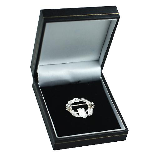 Silver 28x30mm twisted cord top Claddagh Brooch