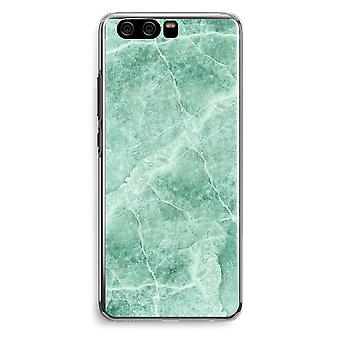 Huawei P10 Transparent Cover (Soft) - Green marble