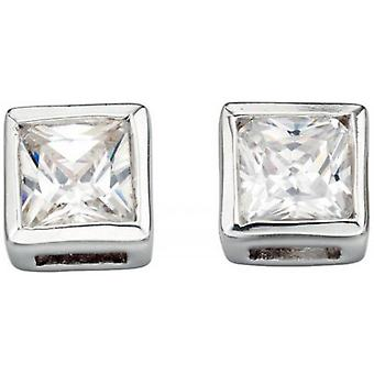 Beginnings Cubic Zirconia Square with Border Stud Earrings - Silver/Clear