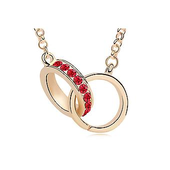Sautoir necklace handcuffs Crystal Swarovski Elements red and gold plate