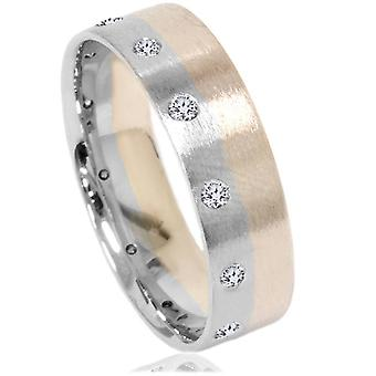 Børstet to Tone 6mm Flat 1 / 3ct diamant bryllup Band 14K gull