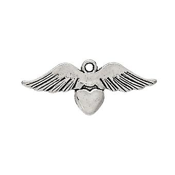 Packet 10 x Antique Silver Tibetan 33mm Wing Charm/Pendant ZX10430