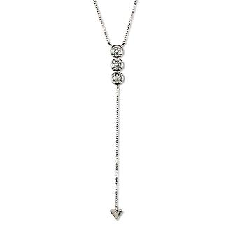Forever Classic Round 3.25mm Moissanite Three Stone Drop Necklace, 0.39cttw DEW