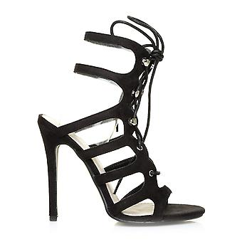 OLIVIER Black Faux Suede High Heel Double Ankle Strappy Tie Up Peep Toe Sandals
