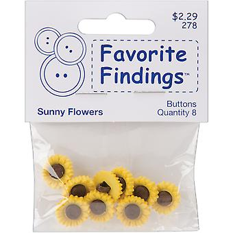 Favorite Findings Buttons Sunny Flowers 8 Pkg 5500A 278