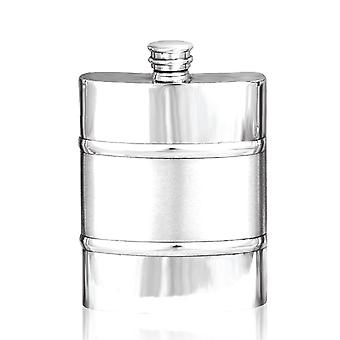 Satin Band Pewter Hip Flask - 6oz