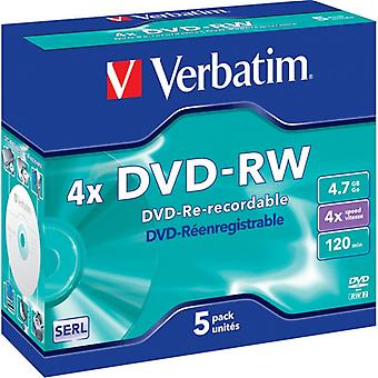 Verbatim DVD-RW, 4x, 4,7 GB/120 min, 5-pack jewel case, SERL