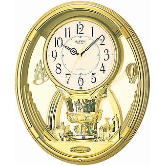 Wall clock quartz MAGIC MOTION rhythm with rotating pendulum Gold 6 tunes night sensor